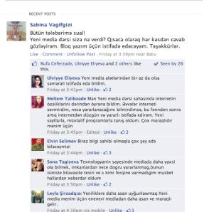 Facebook-da sorğu, Tələbələr dərsdən nə öyrəndi?
